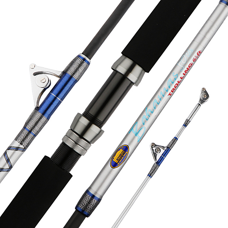 1.98M 6.5ft Heavy Power Big Game Rod 2 Sections Carbon Fiber Boat Fishing Rod Big Game Sea Fishing Trolling Rods