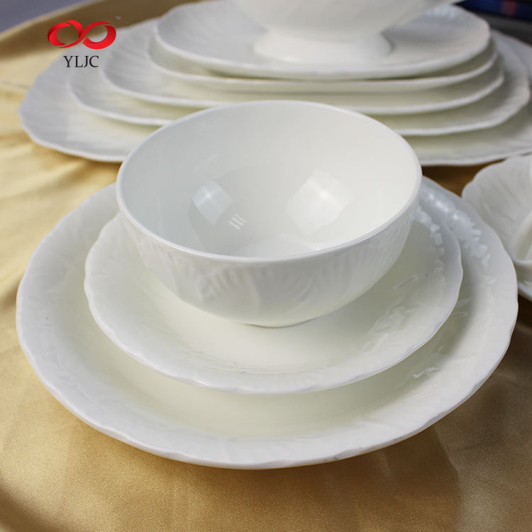 Chinese Manufacturer Online Shop China Pure White Bone Porcelain China Simple Dinner Hotel Tableware Se