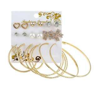 9 pairs vintage Crystal rhinestone zircon pearl bowknot love big hoop stud earring sets