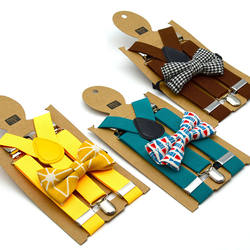 Wholesale Cheap Elastic Baby Boys Girls Stripe Bow Tie Braces Kids Suspenders And BowTie Set