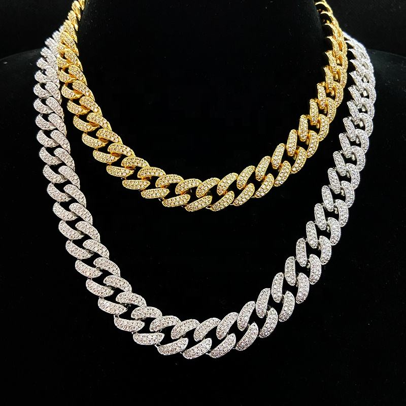 "Wholesale Price Iced Out Prong Set Cubic Zirconia Diamond Gold Cuban Link Chain Hip Hop Necklaces 18"" 22"" 24'' Cuban Chain"