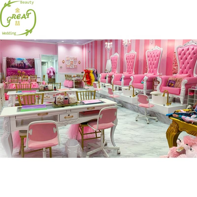 Great Foshan Factory Lovely Baby Pink Kid Foot Spa White Sinks Pedicure Chair For Children