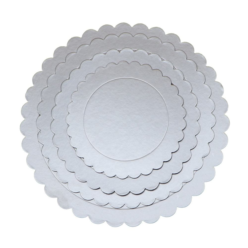 Hot Selling Gold Silver Cake Board Round Flower edges 2mm Cake Base Bakery Cake Tray JL-0028