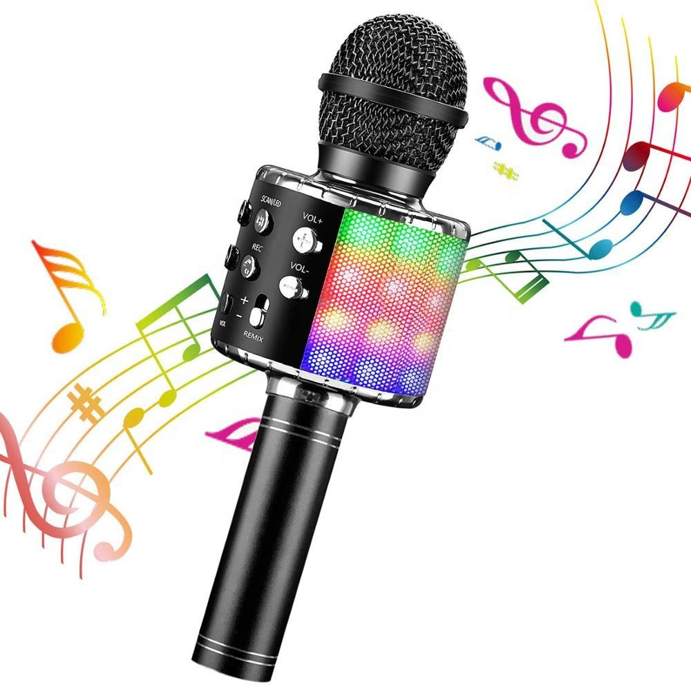 Wireless Bluetooth Karaoke Microphone with Controllable LED Lights Portable Handheld Karaoke Speaker Machine Christmas Birthday
