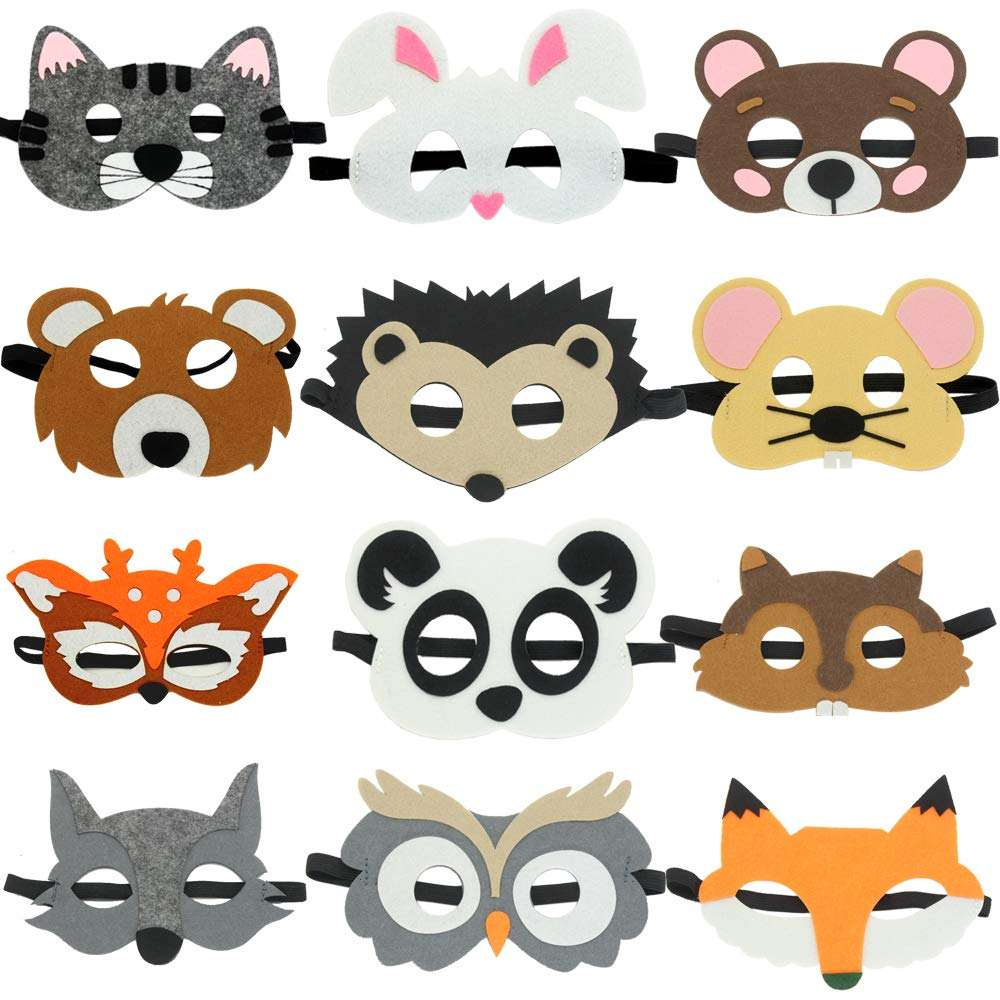 Funny Animal Felt Masks Wild Animal Theme Halloween Birthday Party Favors Kids Costumes Dress-Up Party Supplies