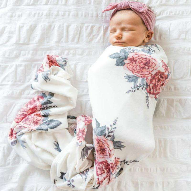 Newborn Infant baby blankets newborn photography Floral Swaddle Turban Hat Soft Sleeping Blanket Wrap Set