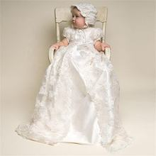 baby Infant girl lace white first communion dresses christening gown infant baptism dress