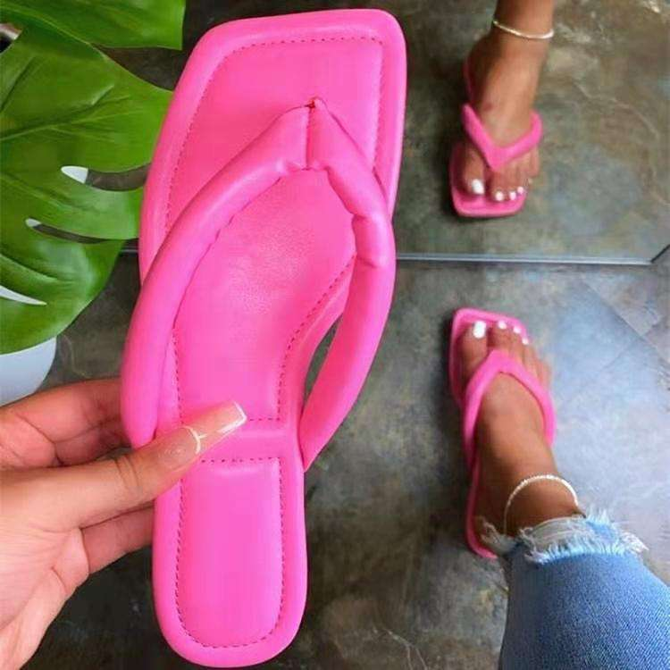 New summer 2021 Japanese style women's flip-flops leather flat beach for women butterfly animals slippers