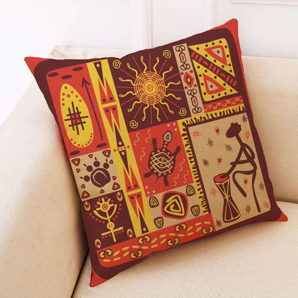 India foreign ethnic disturbance geometric texture patchwork printed pillow case cotton and linen southeast pillow case