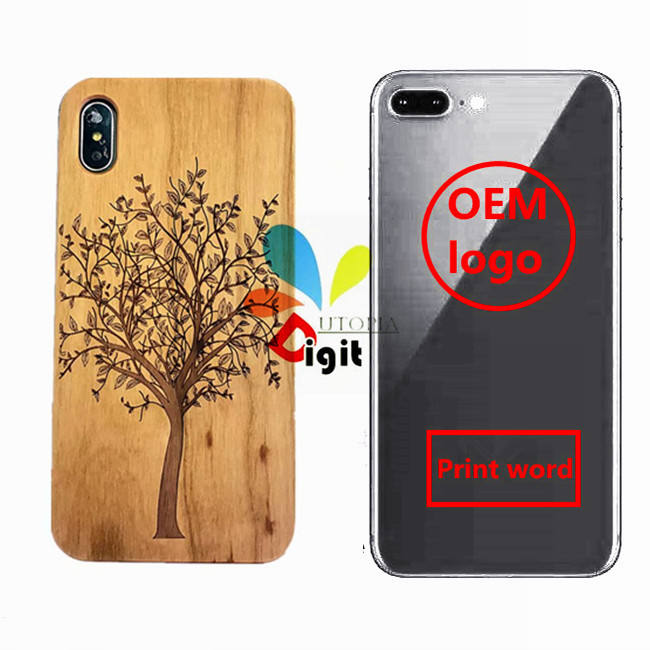 Eco Friendly Custom Design Engraved Wooden Phone Case For iPhone 7 , 8