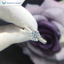 Tianyu 1.0ct gemstone adjustable jewelry 18k gold plated 925 silver moissanite wedding ring for women