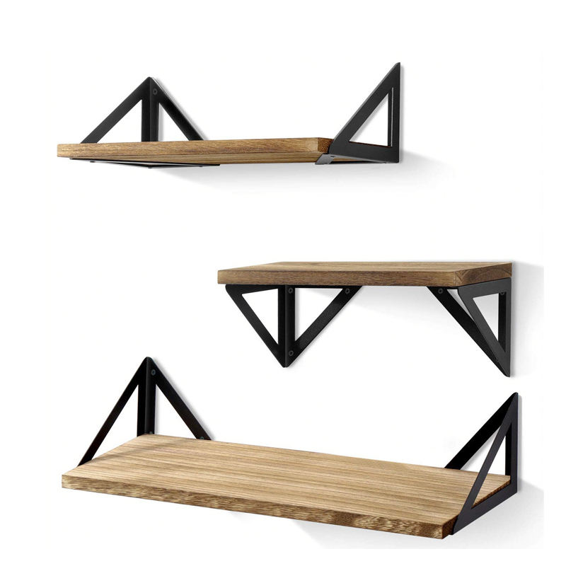 Rustic 3 Tier Floating design Wood Shelf mount Floating Wall Shelf