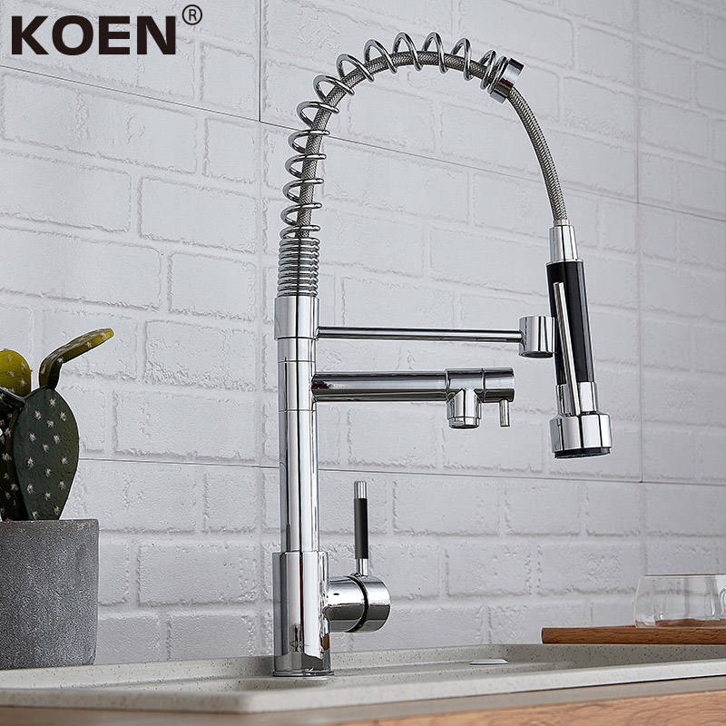 Koen hot sale brass kitchen faucet pull out with 2 spray head