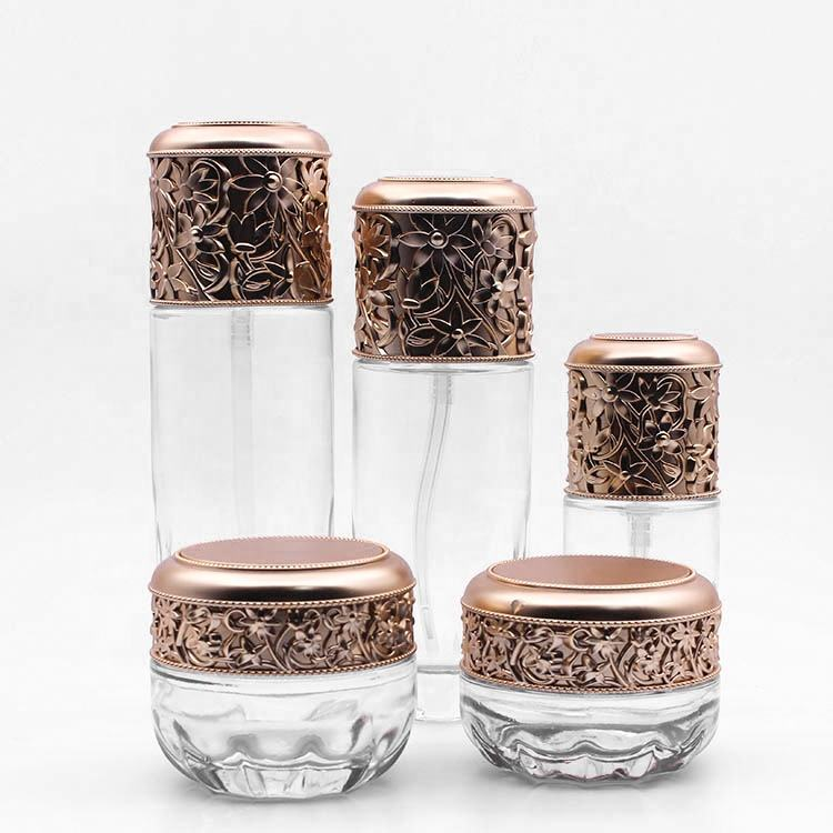 Transparent glass cream jar 30g 50g glass cream bottle 40ml 100ml 120ml with Rose gold pump