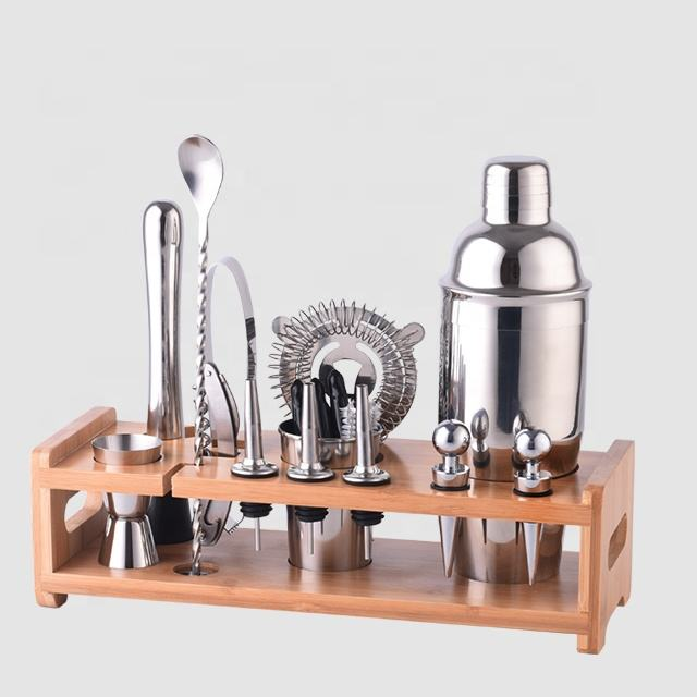 Factory Direct New Products bamboo wood stand bar tools 700ml stainless steel cocktail shaker wine bar accessory set