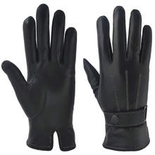 Manufacturer Custom Thick Winter Touch Screen Men Real Goat Skin Leather Gloves