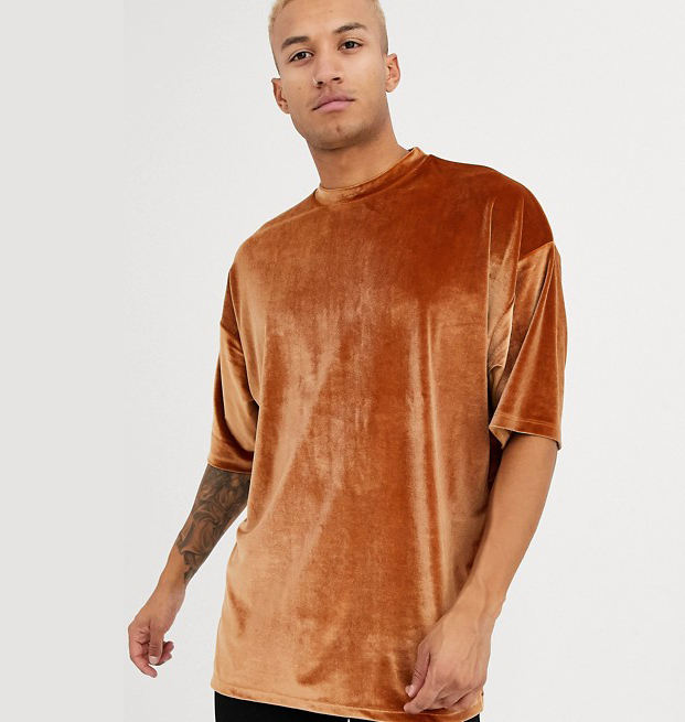 Cheap Custom oversized super longline brown velour t-shirt with half sleeve