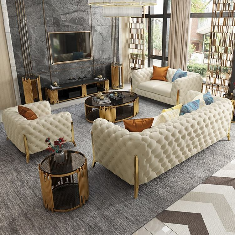 American style living room chesterfield sectional white and grey button tufted leather sofa for home