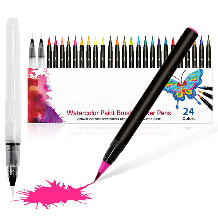 2019 New Type Art drawing markers 24+1 pack Watercolor Brush Pen art marker set