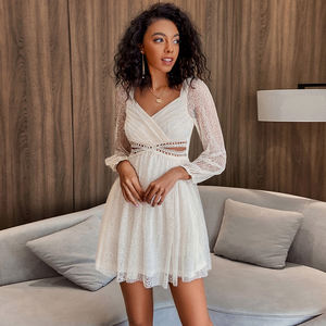 Weixin Dropshipping V Neck branco Cut Out Lace Vestido Casual
