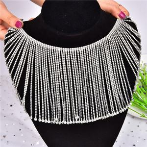 Bling rhinestone long tassel crystal chain,diamante clear chain rhinestone trim dance clothes collar headband trim