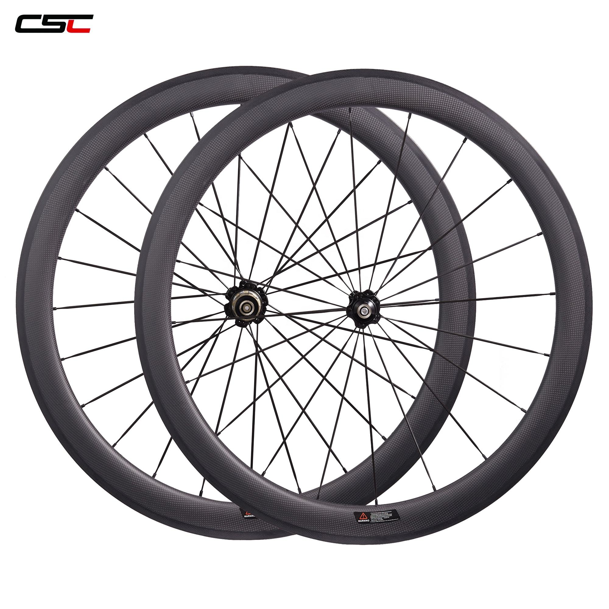 CSC Newest 60mm Clincher Carbon Road Bicycle wheels Novatec A271SB//F372SB 700C