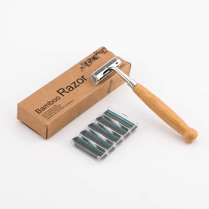 Bamboo handle twin stainless steel blade cartridge razor 1 razor 5 extra cartridges