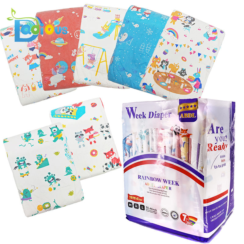 ABDL 6000ML Diaper New designs 7 Patterns Per Bag Adult Baby Diaper Adult Printed Diaper