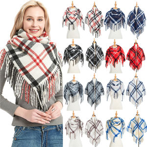 Womens Dress Boho Loose Plaid Poncho Turtleneck Jumper Knit Oversized Scarf Shawl Tops