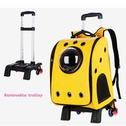 Removable Trolley Pet Backpack Durable PU Pet Carrier Comfortable Space Sapsule Pet Backpack