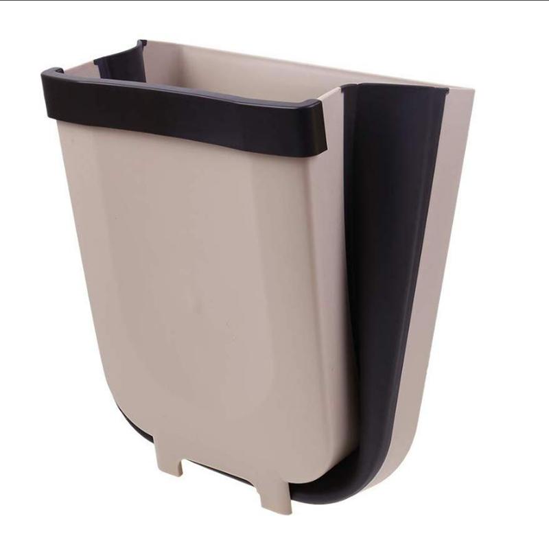 Car Hanging Trash Can Bin Compact Garbage Waste Folded Bag Kitchen Cabinet Door