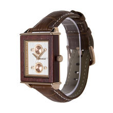 Custom men watch japan movement quartz watch white oak wooden watches with leather strap