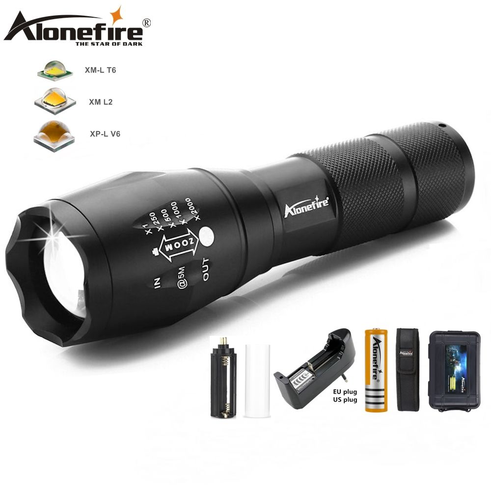 AloneFire G700 5000lm Cree xml T6 LED Zoomable zaklamp Waterproof Lantaarn High power Spotlight Torch 18650 batterij oplader