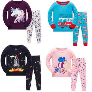 Wholesale spring&autumn long sleeve kids clothing sets boy sleepwear pajamas kids 100% cotton