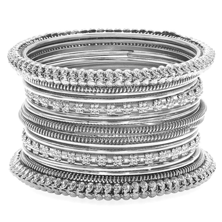 Aheli oxidized bohemian bangles set indian traditional antique, multiple textured bangles for women ethnic party wear jewelry