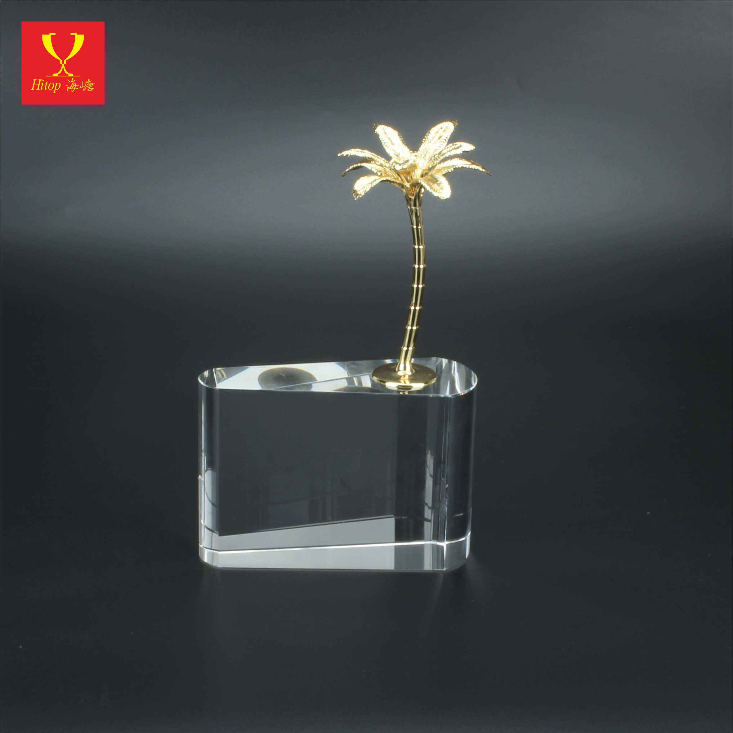 Gold Coconut tree with K9 Clear crystal base Arab merchant ship award fot Business Gift wedding home decoration souvenir