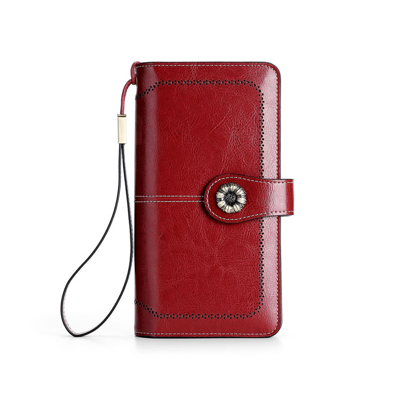 MIYIN RFID genuine leather wallets Long new fashion ladies purse Multi-function card holder zipper Cowhide leather wallet women