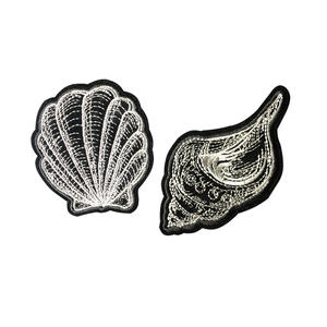 hype surrounding shell/conch with bright silver line applique on the clothing/hat iron on embroidery patches