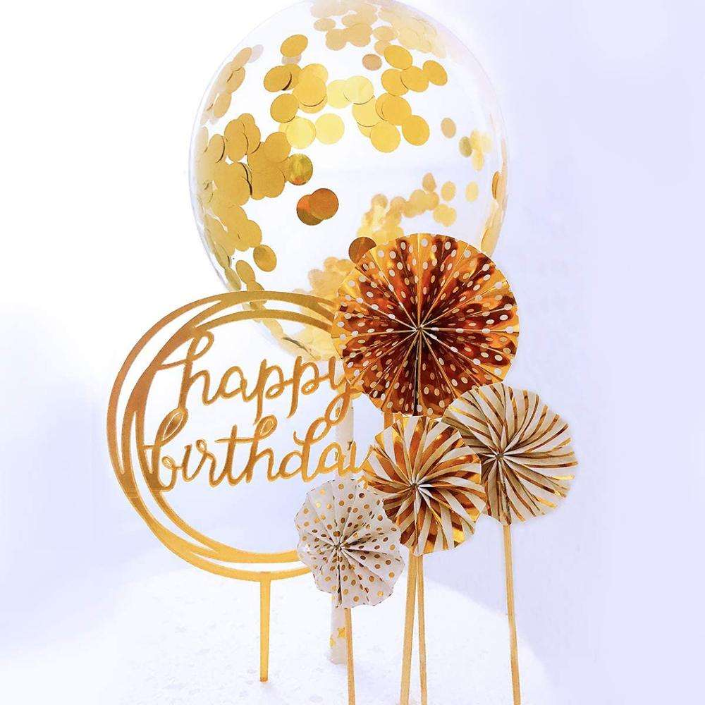 Happy Birthday Cake Topper Acrylic Cupcake Topper A Series of Gold Paper Fans Confetti Balloon Birthday Cake Supplies Decoration