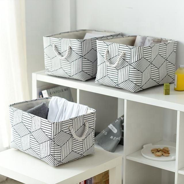 Canvas Fabric Storage Bins Foldable with Handle for Babies Room cute basket, Shelves Toys basket storage