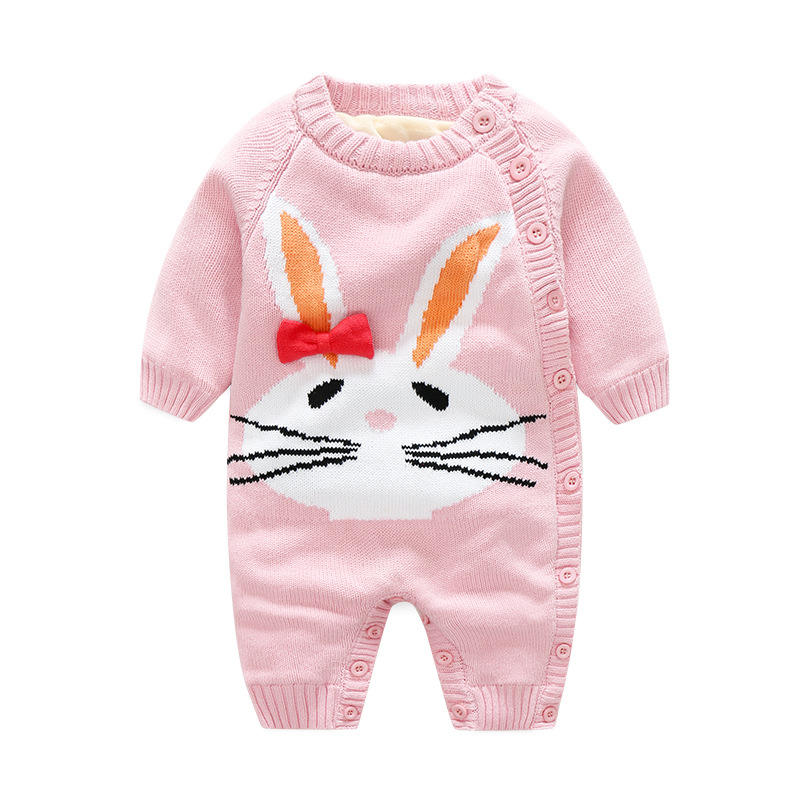 cartoon jacquard thickening knit baby sweater rompers winter baby clothes baby romper
