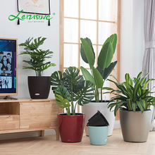 Rattan wicker decorative round garden indoor outdoor modern self watering plant containers planter plastic flower pots plant pot