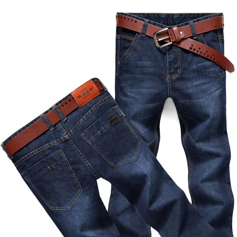 Support OEM Customized Male Casual Trousers Retro Blue Work Wear Formal Regular Straight Mens Jeans