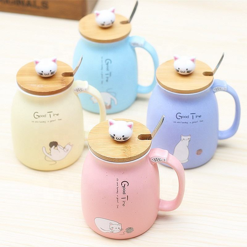 YIDING 3D Cute Ceramic Cat Coffee Mugs, Porcelain Coffee cat Mug with Lid Spoon wholesale