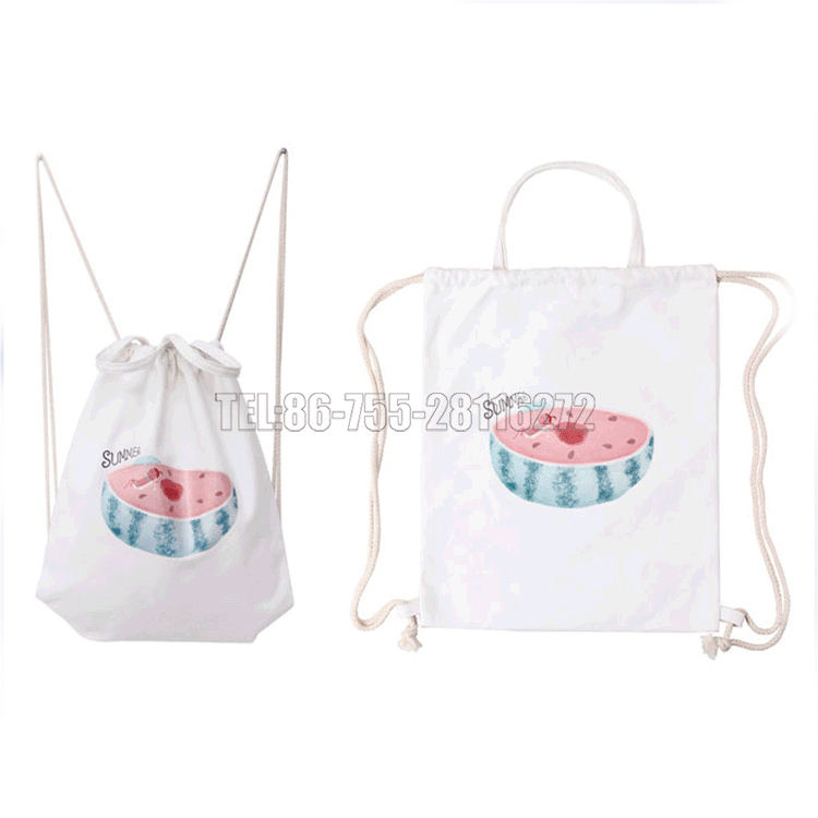 Rfid [ Bag ] Eco Custom Printed Drawstring Canvas Cotton Backpack Bag With Handle
