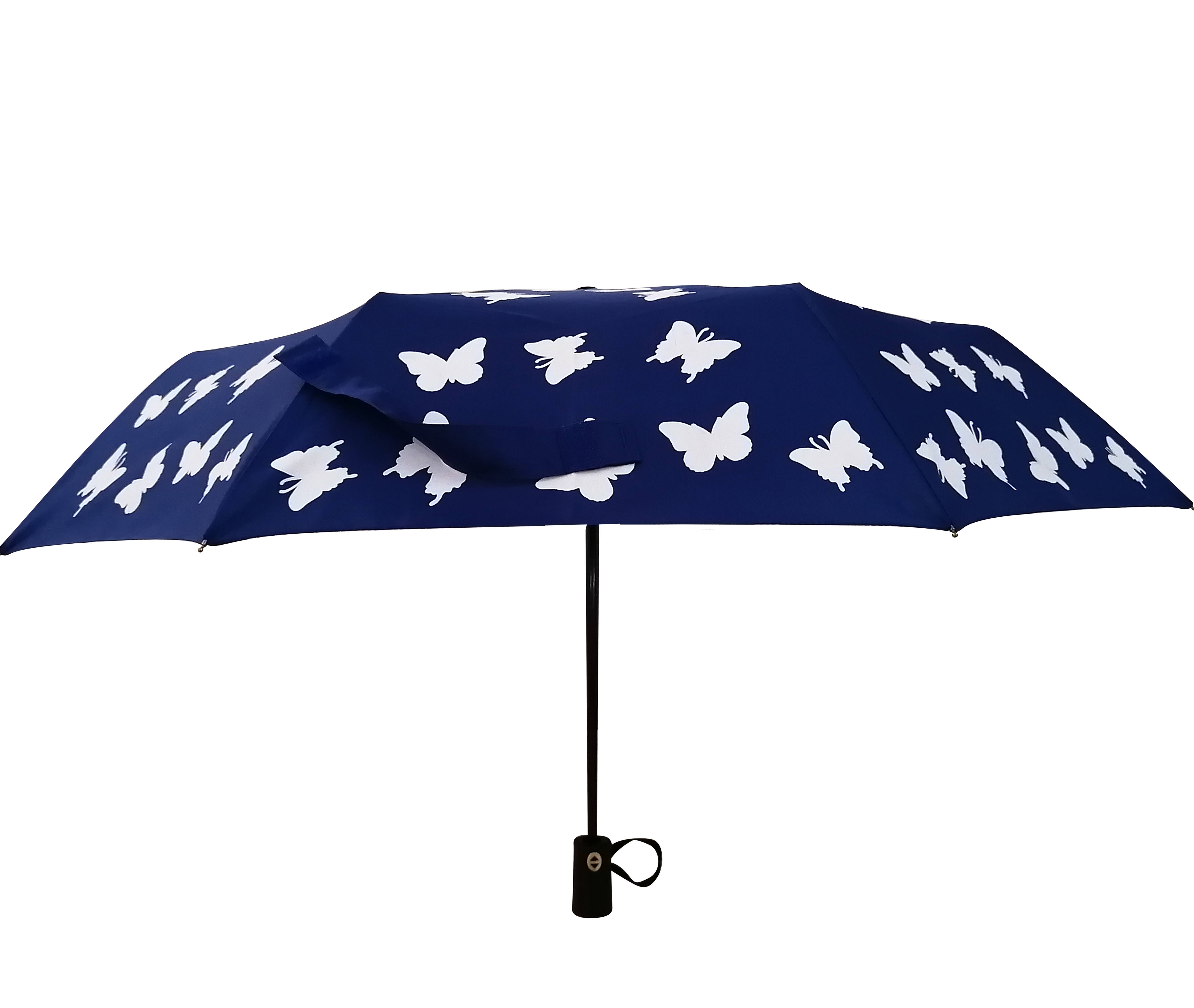 Ad most popular color changing 3-Fold auto open and close umbrella