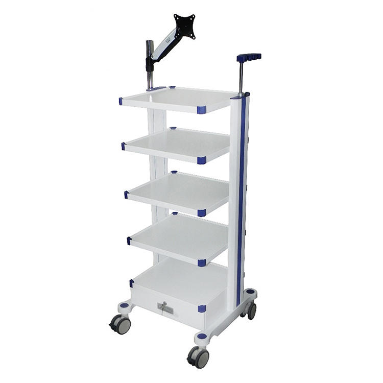 Height 110cm Hotsale MKR ABS Trolley Cart Endoscopic Equipment Cart Endoscope Trolley