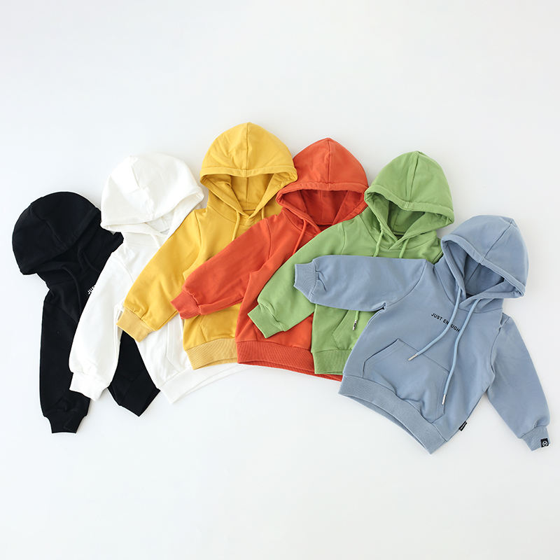 Wholesale 100% cotton boys solid color letter printing hoodies kids