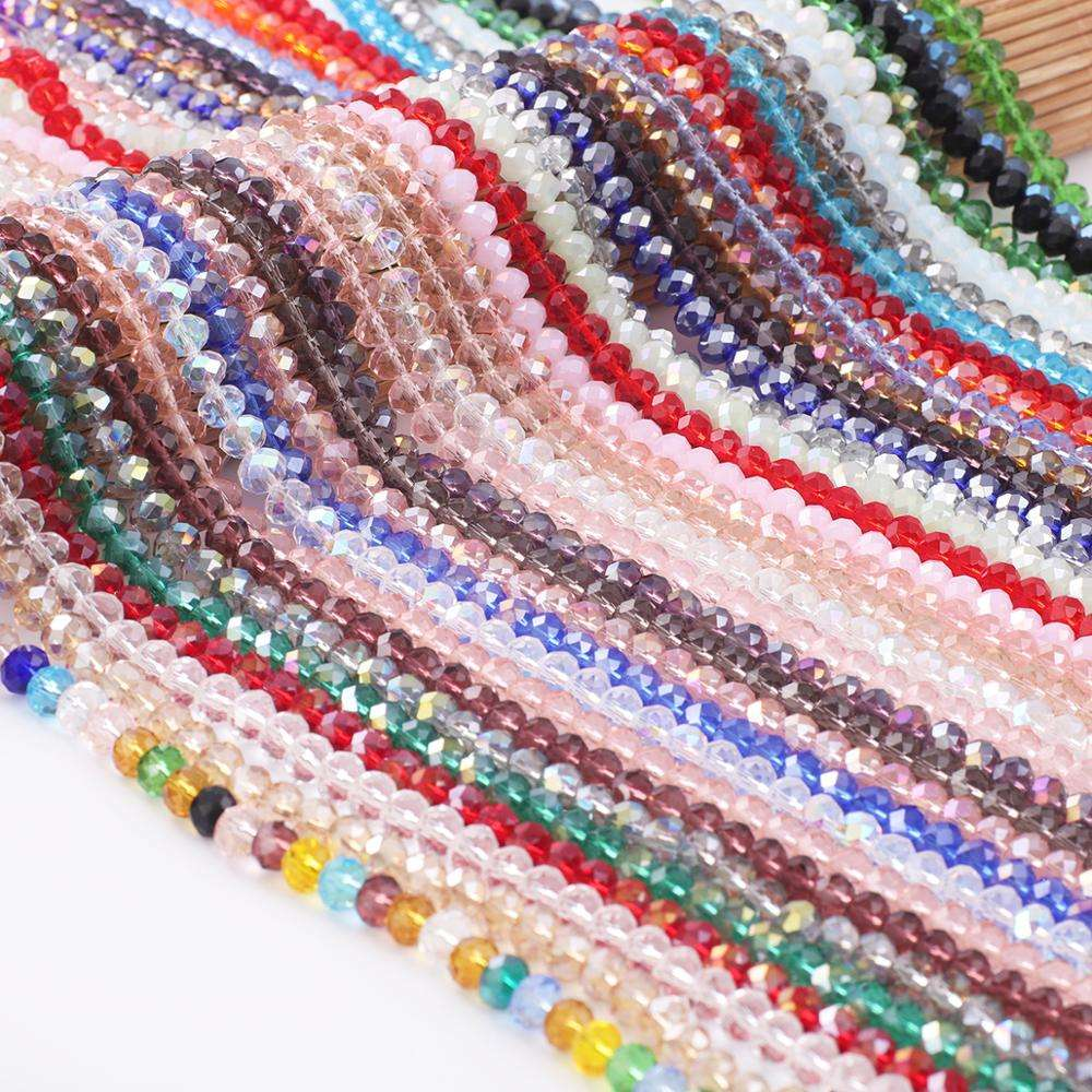 Free Shipping 2/3/4/6/8mm Crystal Beads Faceted Glass Rondelle Loose Beads for DIY Earring Bracelet Necklace Jewelry Making