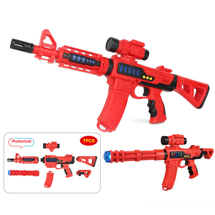 Educational Game Toys Plastic Submachine Gun with light and sound Electronic Magnetic gun toys diy model for kids